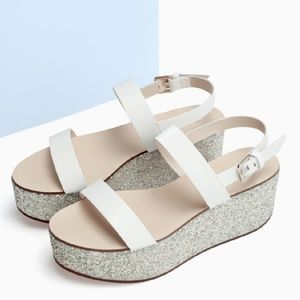 ZARA Glitter Platform Wedge Sandals